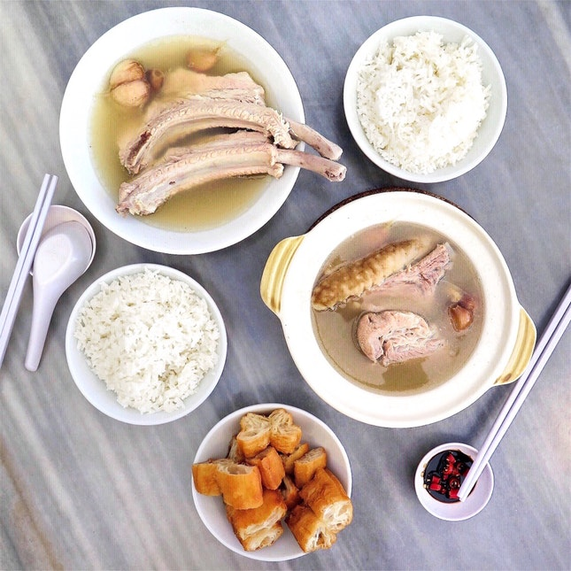 Pork Ribs Soup with Sea Cucumber 海参肉骨茶 [$17.50] & Signature Dragon Pork Ribs Soup 招牌龙骨汤 [$9]