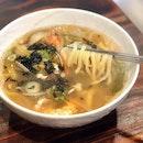 Haemul Kalguksu / Handmade-noodle Soup with Seafood [$12.90]