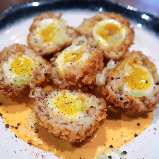 Scotched Quail Eggs [$10]