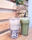 Grass Jelly Fresh Milk Tea with Chia Seeds [$3.50/$4.90]