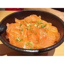 Dear bf ordered #ichibandon which is salmon slices and sweet rice drizzled with sesame oil.