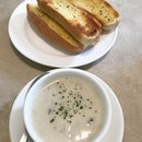 Toasted Garlic Buns and Creamy Mushroom Soup are always a great start to a hearty meal.