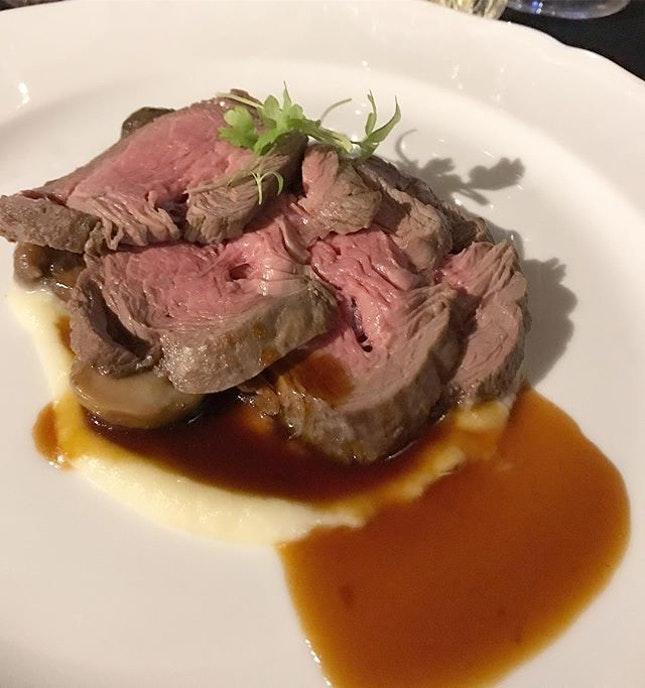 Beef Tenderloin with Porcini Mushrooms, Potato Mousseline & Marsala Jus - a perfectly executed main dish.