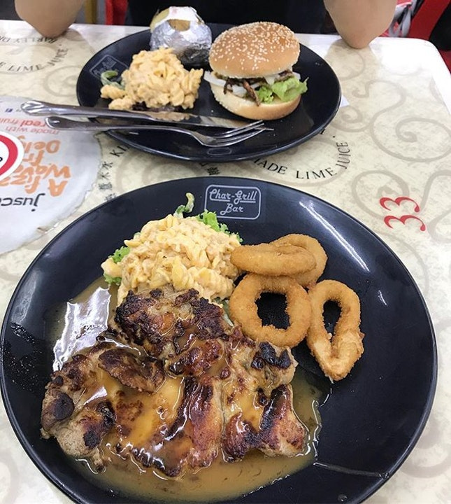 Char-grill lovin' - some classic chargrill chicken with pasta salad and onion rings, as well as the Cajun Chicken Burger.