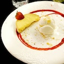 SG50 $50nett set meal dessert of the day : Half a lemon curd tart with crispy crust, served with a scoop of vanilla ice cream.