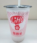 Trying out liho's taro milk drink for the first time.