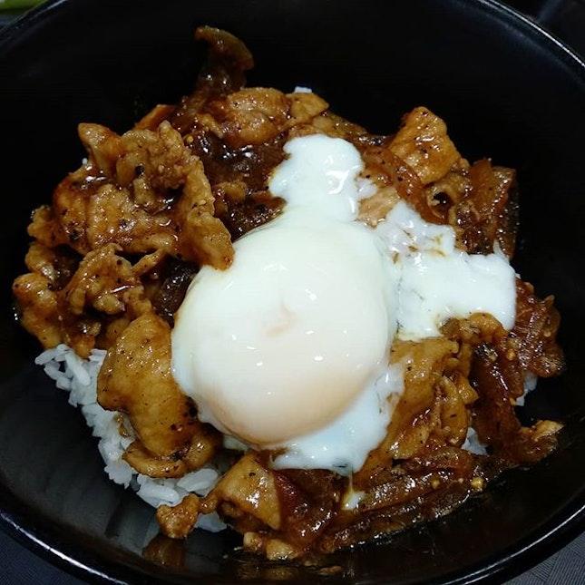 Black pepper pork rice bowl at amoy!