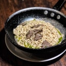 Current craving for this creamy angelhair pasta with real black truffle.