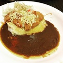 Cheesy Pork Katsu Curry Rice + Omelette & Monster Egg Curry Rice.