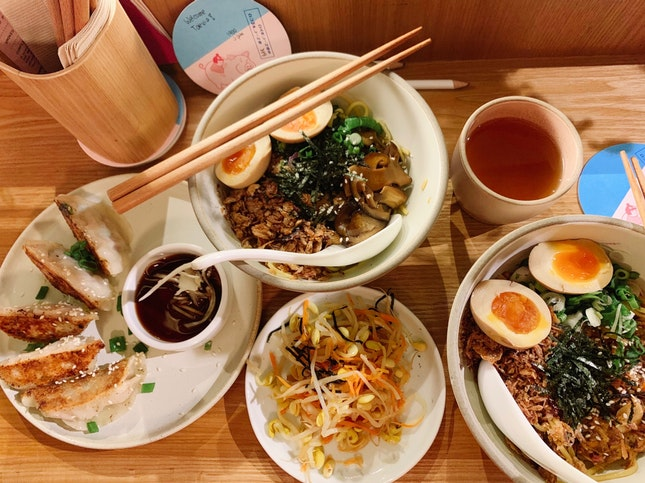 Original Dumplings ($7) | Miso Mushroom Noodles ($5) | Braised Pork Noodle ($6) | Onsen Egg ($1.50 each) | Bottomless Hot Tea ($3)