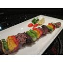 Wagyu Yasai Stick $24 - Motobu Wagyu with assorted veggies skewer.