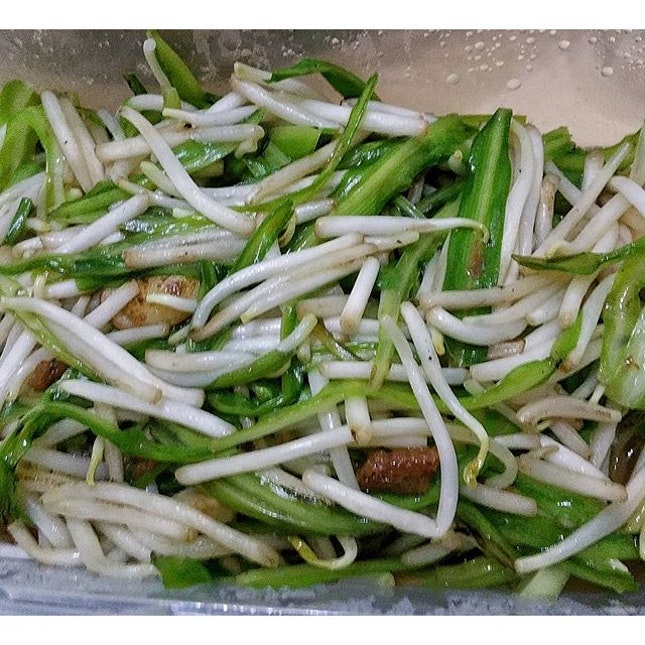 Stir fried Green dragon from Long Ji Zi Char with Bean Sprouts.