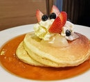 HOUSE-MADE PANCAKES S$15 from @kithsingapore Pancakes, Poached Pear, Mixed Berries, Honey Cream Cheese, Maple Butter.