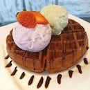 Waffle is a dish made by cooking batter or dough between two plates.