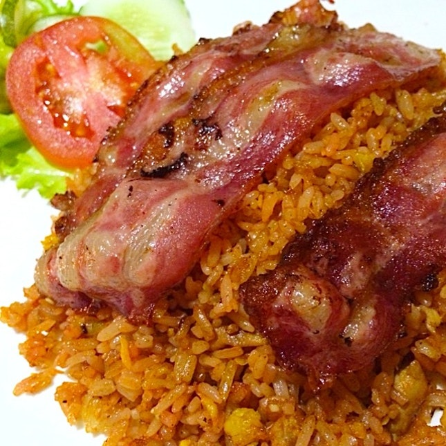 Spicy Fried Rice with Bacon.
