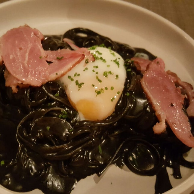 Smoked Duck Squid Ink Pasta ($20)