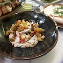 Eggplant yoghurt dip topped with raisins and nuts!