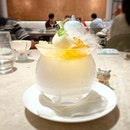Soursop sorbet with peach gum and lemongrass jelly - a refreshing dessert after a full meal!
