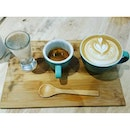 Barister's platter: sparkling water, espresso and cappuccino.
