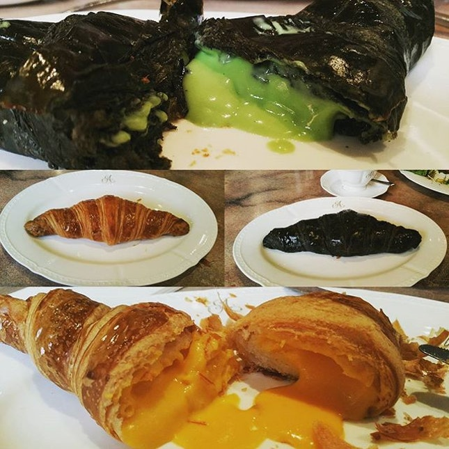 Came here for the salted egg yolk croissant and charcoal kaya croissant...