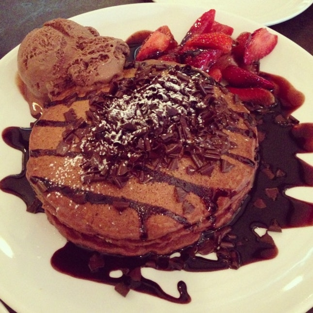 Chocolate Pancakes With Chocolate Ice Cream Burpple