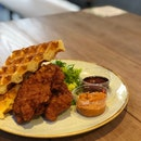 Har Cheong Fried Chicken With Waffles (Sambal)