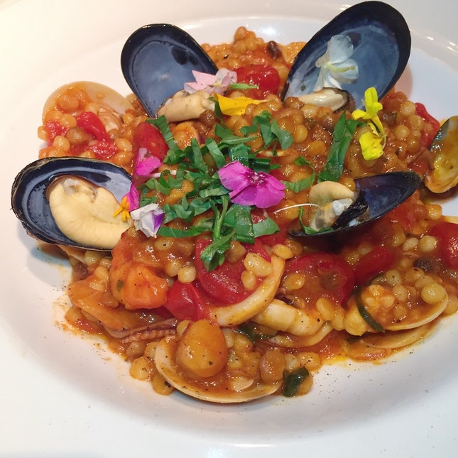 Fregola - Sardinian Pasta with Assorted Seafood ($28++)