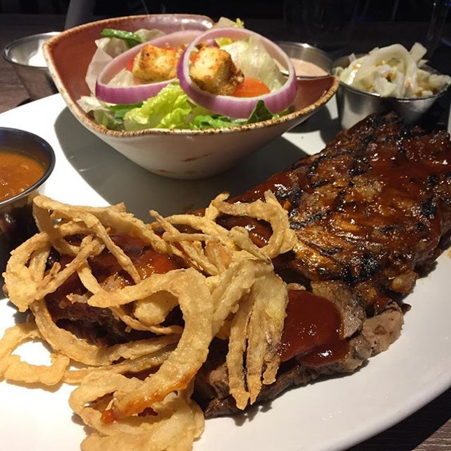 Hard Rock Cafe's Double Hickory Smoked Platter featuring their Beef Brisket and Ribs ($34++).
