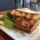 Chicken and Waffles ($20) with an extra Avocado ($4) from Monniker.