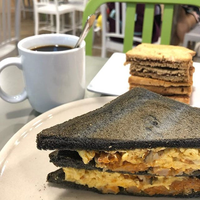 #Otah with #eggs and #charcoalbread = #yummy #CoffeeKaki serves up a great range of #breakfast options in local tastes with a twist!