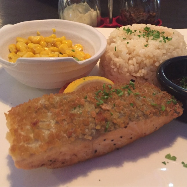 Salmon With Pilaf Rice And Sweet Corn