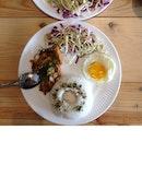 Salted Egg Chicken Chop Rice