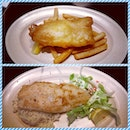 #battered #beer #fish & #chips and #grilled fish with #rice...