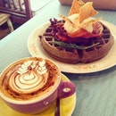squid ink waffle with candied maple bacon & cuppuccino
