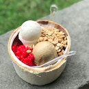 original coconut & coffee ice cream with red ruby, peanuts and grass jelly