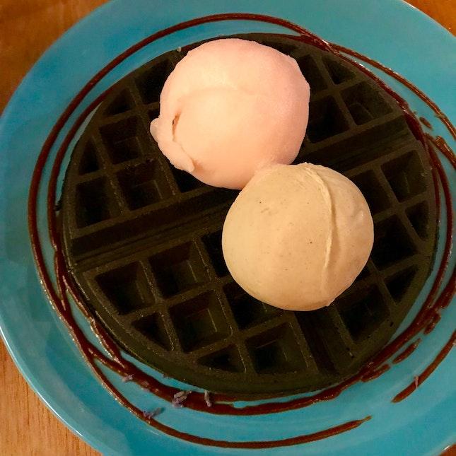 charcoal waffle with grapefruit campari sorbet x pistachio ice cream ($15)