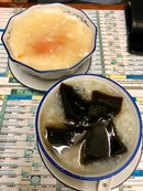 white fungus papaya soup with almond paste ($4) and water chestnut soup with egg and herbal jelly ($4.30)