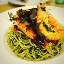 Had a taste of Swensen's new festive menu - Laksa Aglio Olio with King prawns.