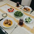 Mains: Maple-garlic pork Sides: Pesto Mozarella, Edamame, Japanese Cucumber