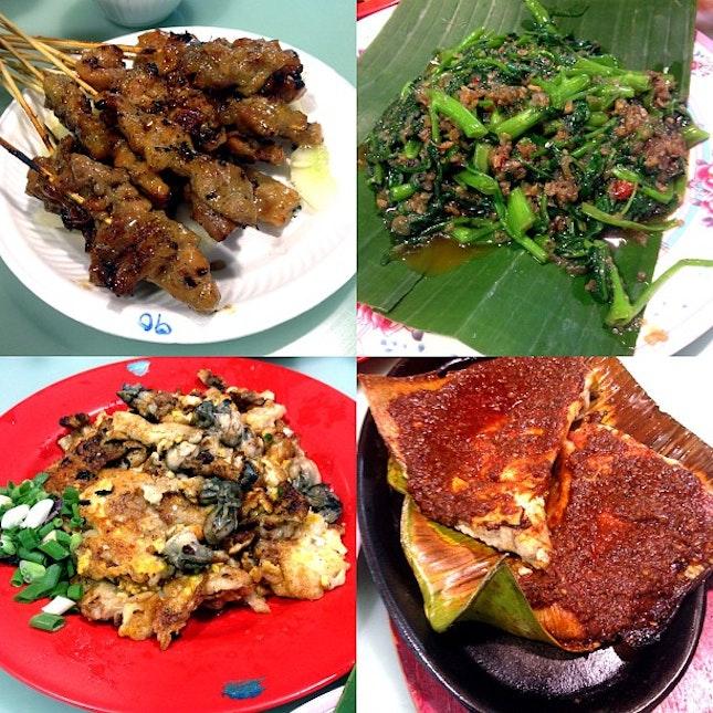 Dinner tonight 😍 #satay #kangkong #friedoyster #stingray #foodporn #dinner @feliciatwt @qienseventytwo