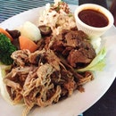 Barbecued Brisket Beef and Smoked Pulled Pork Combo ($32.95++)