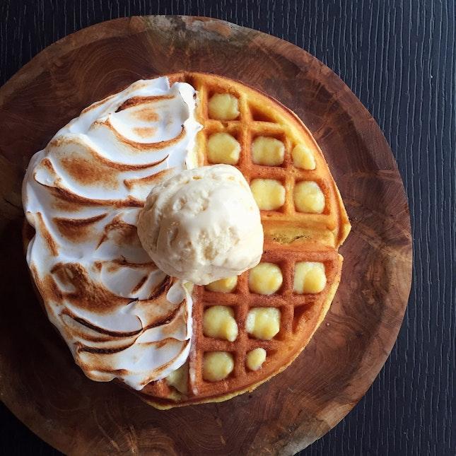Lemon Meringue Waffle with Lavender Honey Ice Cream by Micreme Lab ($13.90 nett)