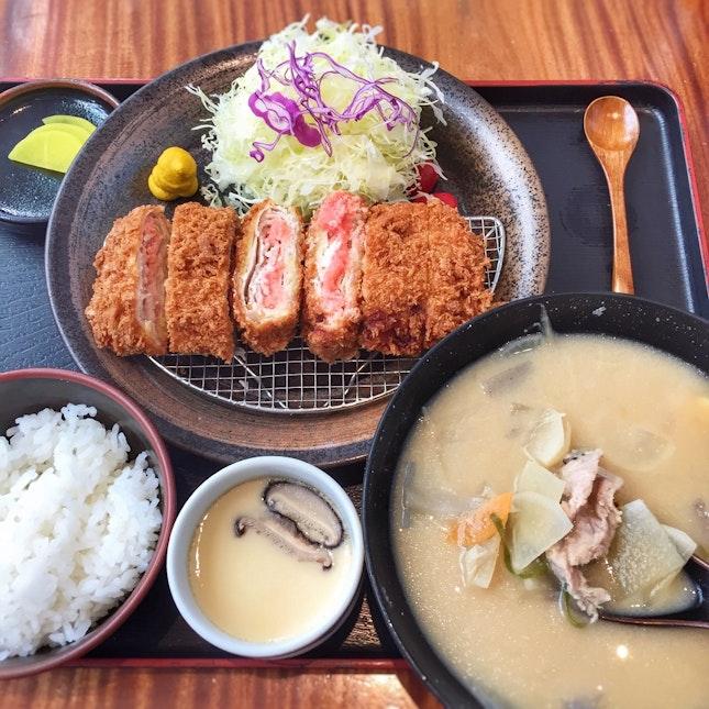 Mentaiko Kasane Katsu Set + Tonjiru Soup + Chawanmushi ($45)