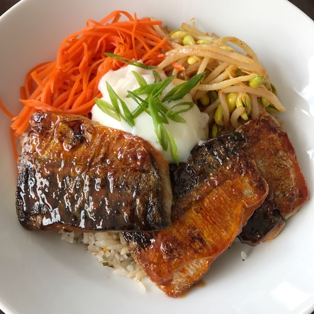 Lunch Special: Grilled Mackerel Rice Bowl ($15)