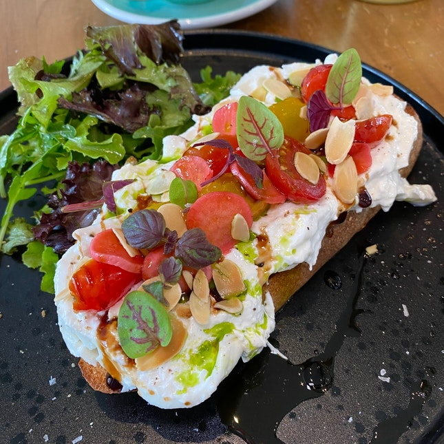 "Recommended By The Head Chef, The ""Burrata and Tomatoes Tartine"" Is A Really Lovely Sandwich ($18)."