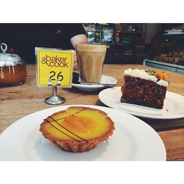 Morning goodness (double shot latte x lemon tart x carrot cake) 😋😌