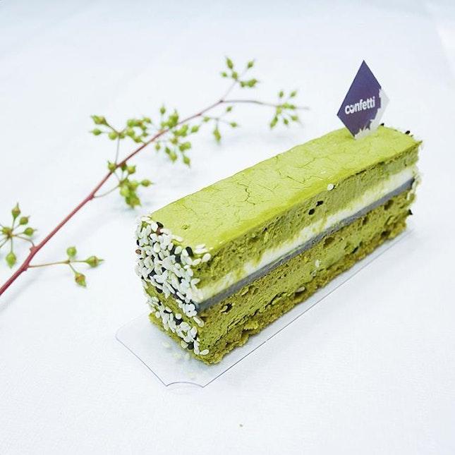 Matcha Goma Keki •SGD 6•  A lovely visual contrast of layers made up of green tea mousse, black sesame cream, white chocolate whipped ganache and green tea sponge.