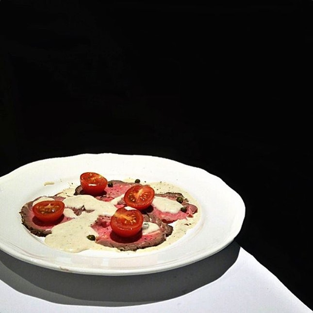 Vitello Tonnato •SGD 24•  Chef Luca brought us this intensely flavorful thinly sliced roasted veal loin served with light creamy tuna sauce, which made an elegant appetizer during that night.