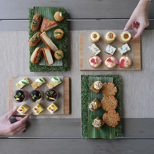 """This 4 tier rack of petit sweet and savoury bites is part of the new Portico high tea set """"Portico Favorites"""" that is launching today."""