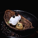 Suspiro Perú •SGD 188++/Part of 7 Course Dinner Menu• • This captivating dessert celebrate the exotic tropical fruits from Peru with Suspiro Perú that combines soursop sorbet with lemongrass dulce de leche and matcha meringue, atop a bed of Amazonian chocolate crumbs.